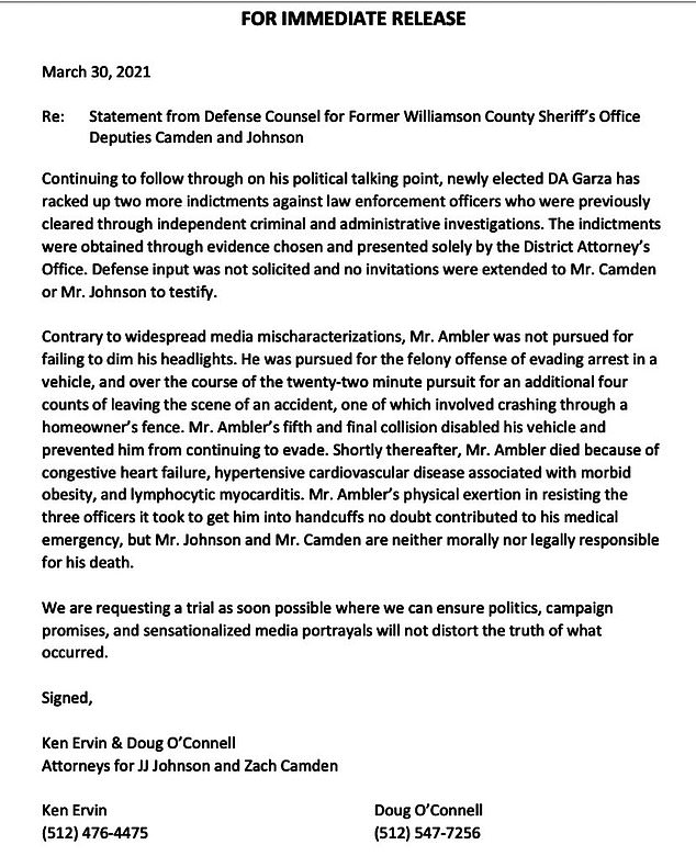 Lawyers for the two former deputies quickly posted a statement on Twitter lambasting the District Attorney for allegedly being politically motivated