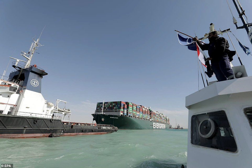 The ship was pulled up the waterway on Monday afternoon and opened the door for billions of dollars' worth of goods to resume their progress through the canal