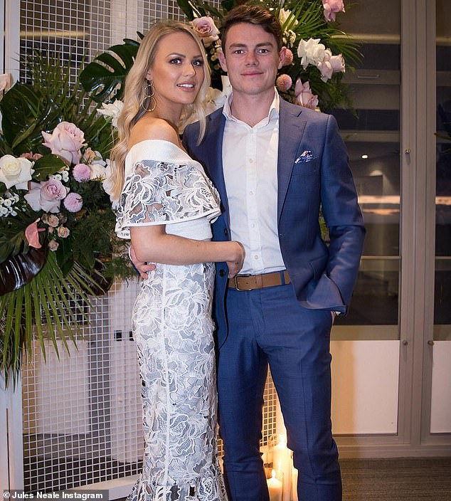 Loved up: Lachie and Jules tied the knot in November, 2018, in Perth, before making a move to Brisbane - where Julie was based