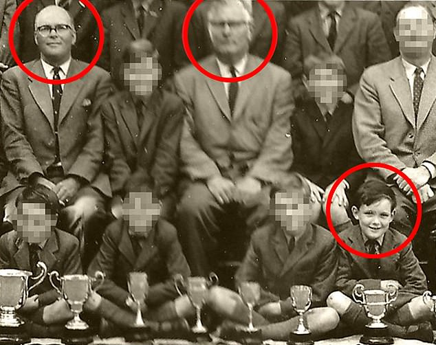 Louis de Bernières as a child at Grenham House Prep School (bottom right). Also circled is the sadistic headmaster Denys Jeston (left) and his deputy Jack Lidgate (right)