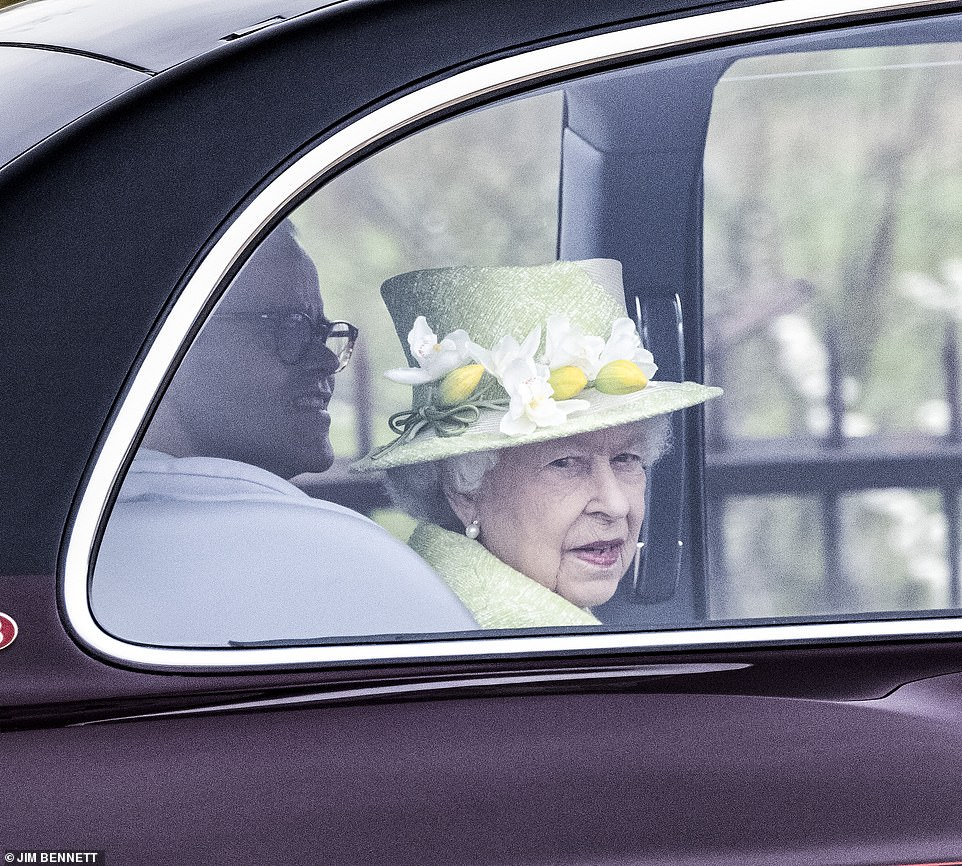 Her Majesty was pictured leaving Windsor this morning, en route to theWar Memorial at Runnymede