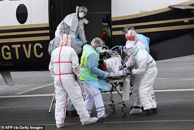 A Covid-19 patient is evacuated from the Paris area to Biarritz airport as authorities look to ease the pressure on overwhelmed hospitals