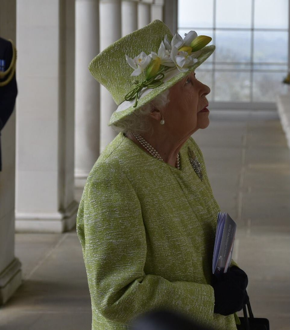 The Queen at the memorial, which commemorates more than 20,000 Commonwealth airmen and women who died during operations in north and west Europe and have no known grave