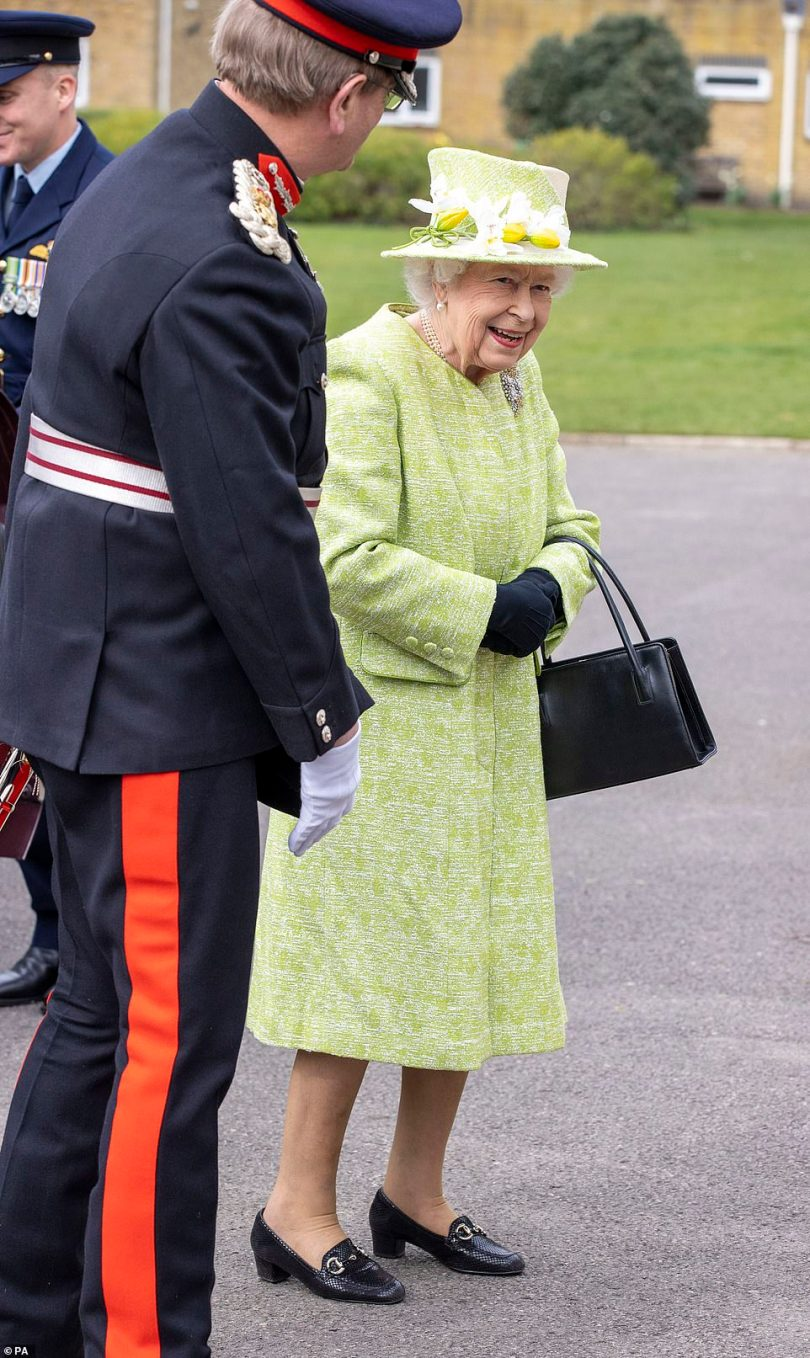 The Queen, who had her first Covid vaccination in January, did not wear a mask at the event today