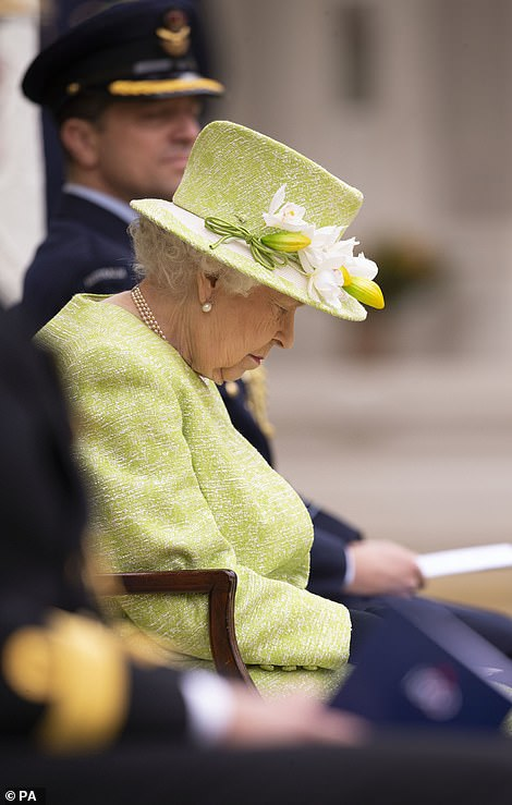The Queen bowed her head as prayers were said for Royal Australian Air Force servicemen and women who have lost their lives in service of their country