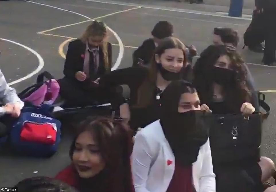 Videos of pupils taking action at Pimlico Academy in Westminster, central London , have gone viral on social media, being shared hundreds of times