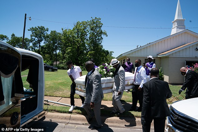 In the second report, of 378,000 death certificates, 5.5% listed COVID-19 as the sole cause of death. Pictured:A casket carrying the body of Lola Simmons, who died of coronavirus, is placed into a hearse following a funeral service in Dallas, Texas on July 2020