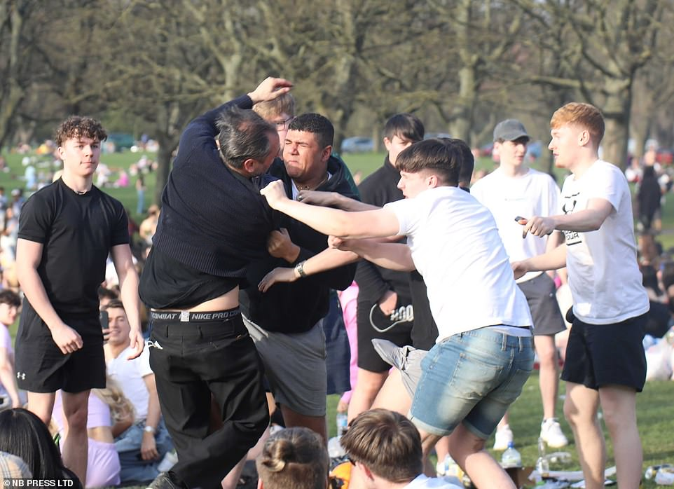 Rowdy revellers in Hyde Park in Leeds burst into a heat-fuelled fist fight as they gathered on the grass in the sun yesterday, as the mercury hit 75F (24C) in parts
