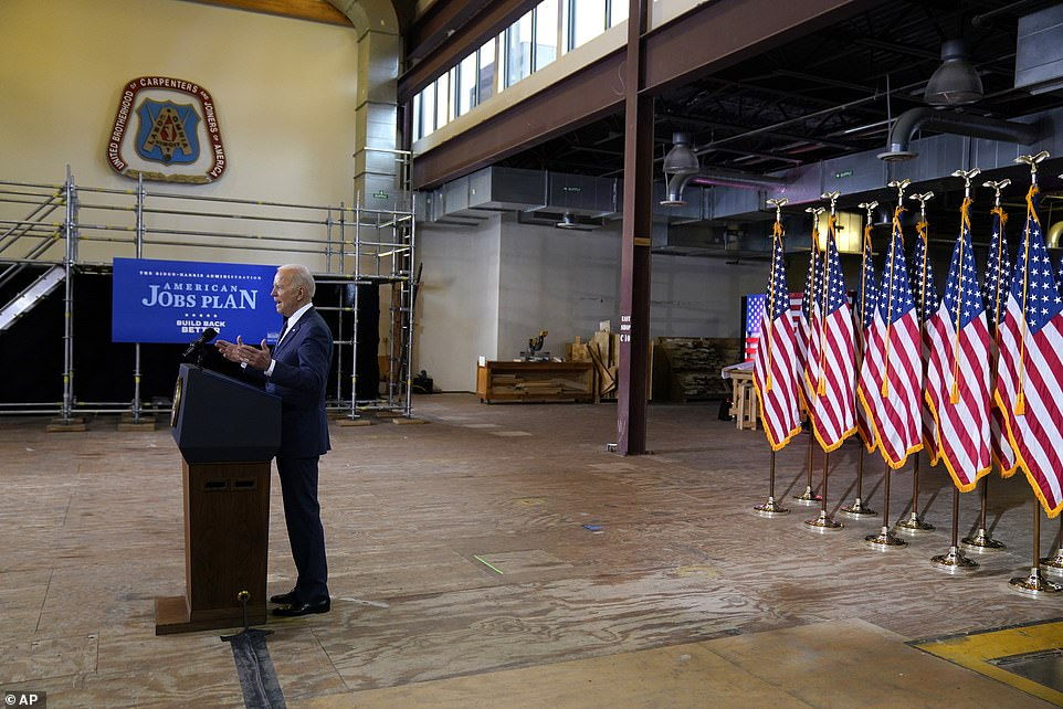 Biden took on former President Donald Trump and Republicans in his speech, saying they didn't 'cry' when the 2017 tax bill benefited the 1 per cent, yet grumbled over COVID-19 relief spending and now his infrastructure plan