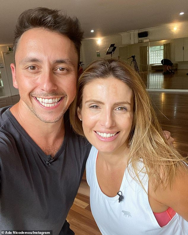 Dancing buddies:The mother of one is currently training for her appearance on Channel Seven's reboot of Dancing with the Stars. Pictured with her dance partner AricYegudkin