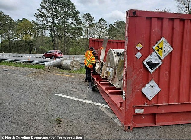 A truck carrying a radioactive uranium compound was involved in a car accident in North Carolina