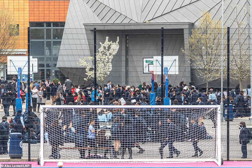 The school playground was packed full of students after they refused to take part in lessons during the uprising yesterday