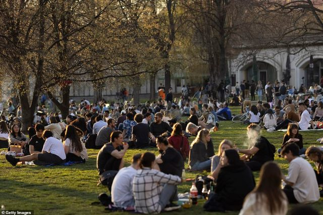 GERMANY: Amid soaring infections, Berliners flocked to the city's parks on Wednesday evening to enjoy sunny weather