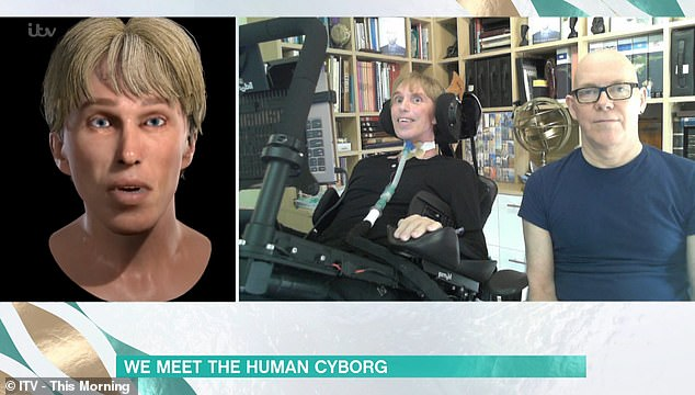He has created a remarkably life-like avatar designed to respond using artificially intelligent body language (left)