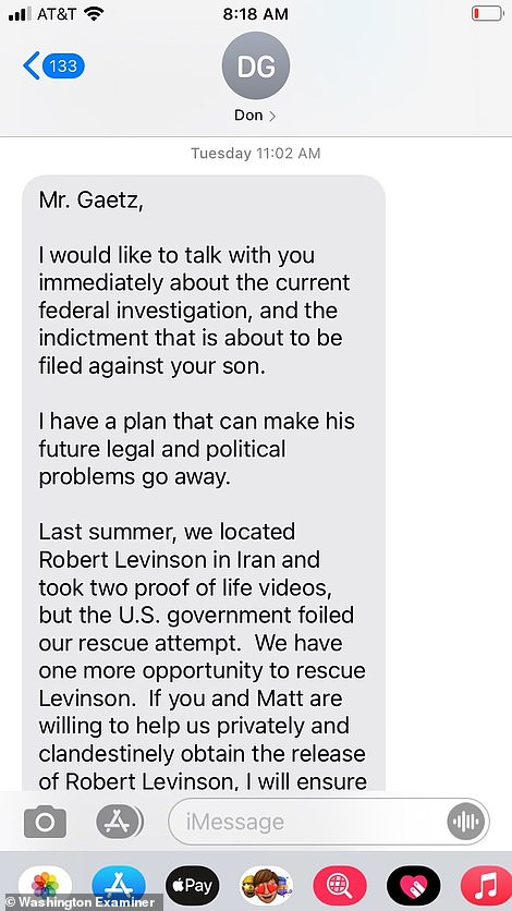 This is the text Matt Gaetz's father Don says he received from Bob Kent, an Air Force intelligence officer, on March 16, detailing an extortion plot that would involve the Gaetz family giving up $25million