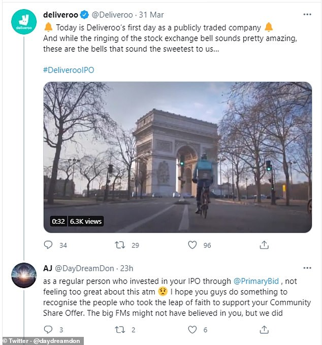 The performance of Deliveroo since its listing has drawn a backlash from customers who invested