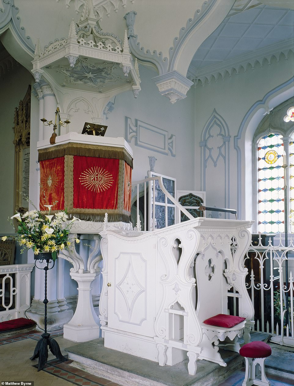 """ST JOHN THE EVANGELIST CHURCH, SHOBDON, HEREFORDSHIRE: 'The whole interior including the pulpit is a unique 1752 """"Rococo- Gothic"""" creation of Richard Bateman, a friend of Horace Walpole,' says Matthew. 'The lower deck for the parish clerk is no more than a little chair. The velvet hangings are original'"""
