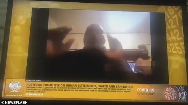 Xolile Ndevu, a traditional leader in South Africa, was speaking during a parliamentary Zoom meeting when his wife walked into view behind him completely naked