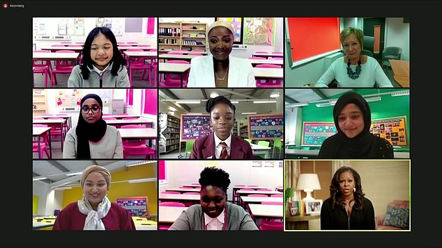Michelle Obama reunited with current and former pupils at the Elizabeth Garrett Anderson school and the Mulberry School for Girls in London during an hour-long virtual event on Zoom