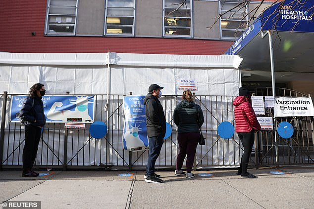 All three specialists urged people to get vaccinate and said the symptoms of COVID-19 could be much worse than those from immunizations. Pictured: people wait in line to receive COVID-19 vaccines atNYC Health+Hospitals Gotham Health Sydenham, March 29