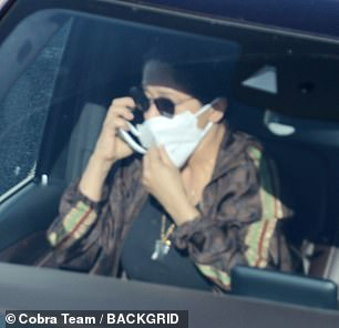 Guidelines: Salma popped on a face covering while travelling around Rome