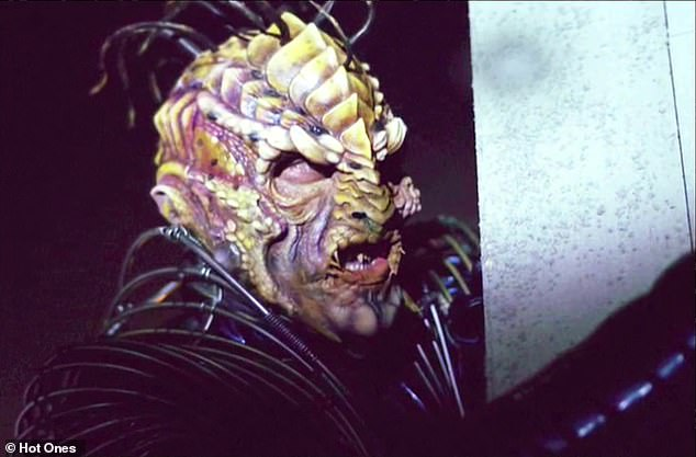 Not a fun moment: The actor, 54, said he found out he was claustrophobic after undergoing extensive makeup, revealing 'I was really struggling with the makeup process, I had straws in the nose '' in order to play Xindi-Reptilian on a 2003 episode of Star Trek: Enterprise (above)