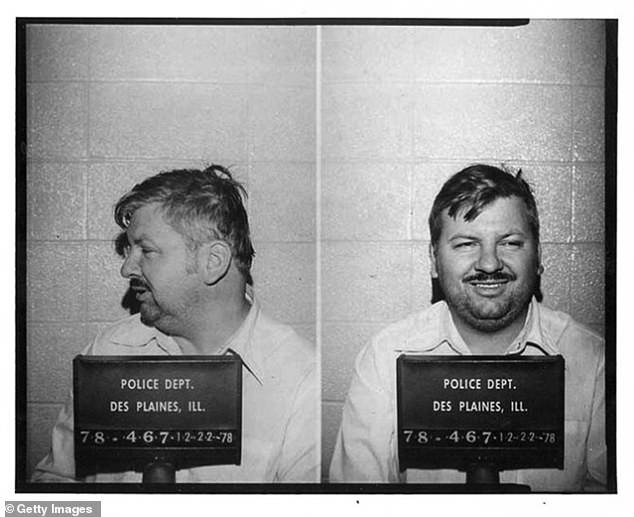 Gacy is seen grinning in a mugshot taken at the time of his arrest, in December 1978