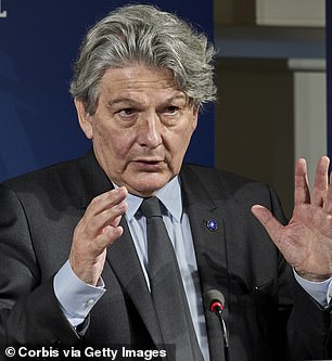 Thierry Breton, the EU's internal market commissioner, said 'zero' AstraZeneca jabs made on the continent would be shipped across the Channel until the company fulfilled its commitments to Europe