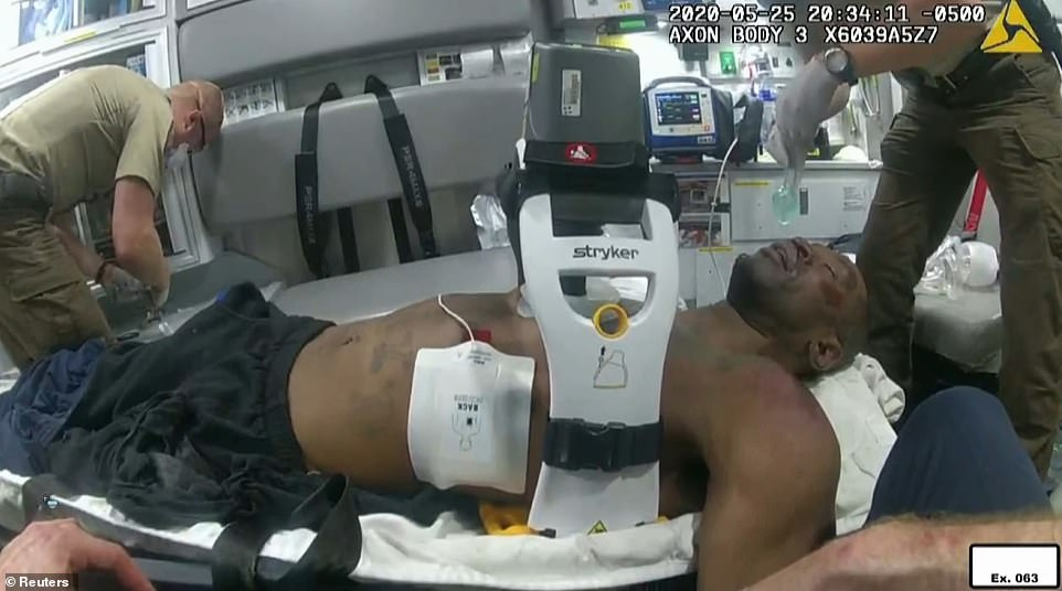 Body camera footage showed Floyd strapped into a Lucas device - a mechanical method of delivering chest compressions – after he had flat-lined in the ambulance