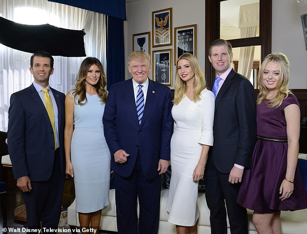 The Trump family, from left: Don Jr, Melania, Donald, Ivanka, Eric and Tiffany, in October 2016