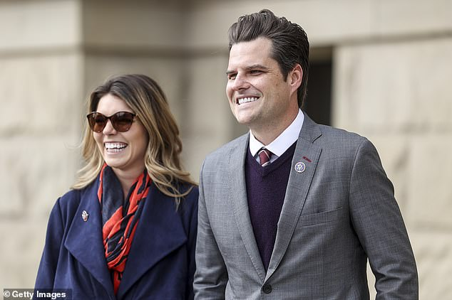 Gaetz with his fiancee food analyst Ginger Luckey, 26, who he met in early 2020 at Trump's Mar-a-Lago club