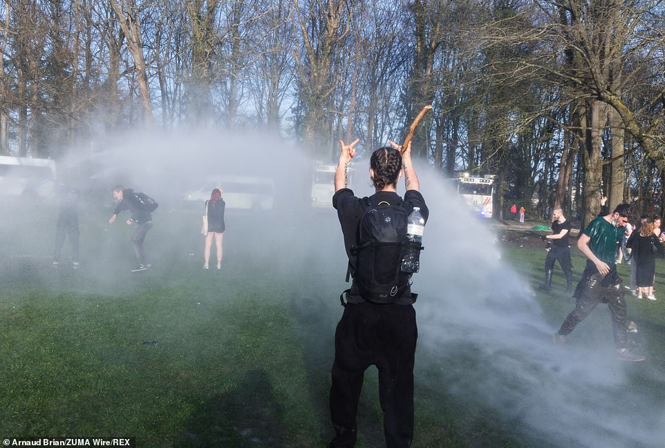 Water was sprayed into the crowds as protesters defied the aggressive tactics