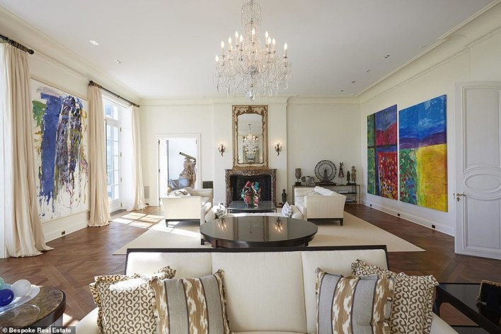 The living room is 48' feet in length and features plenty of room to hang artwork