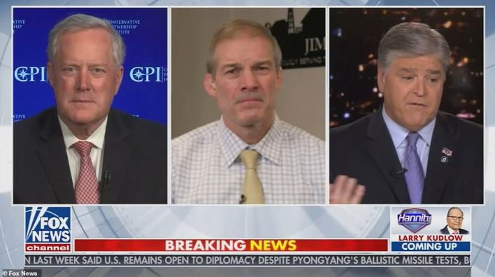 Mark Meadows (left) and Jim Jordan (center) said that Biden was wrong to reverse Trump's border policies