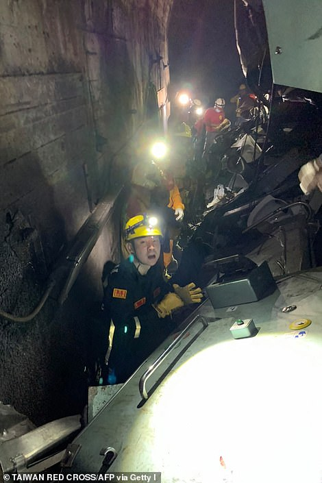 Rescuers working inside the tunnel