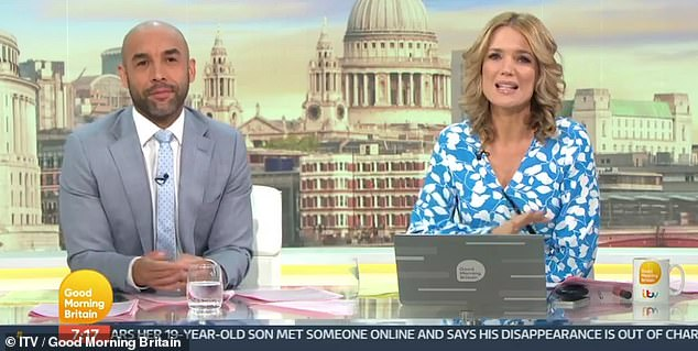 'Get well soon':Charlotte Hawkins, 45, revealed she was texting the presenter, 61, as she sent her well wishes to her ITV co-star (pictured on Friday's GMB with Alex Beresford)