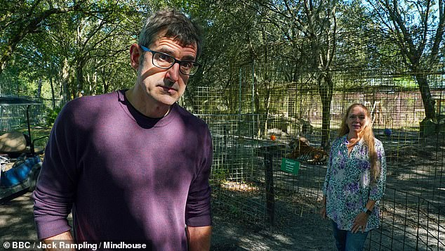 Carole and Howard have spoken openly about feeling 'tricked' by Tiger King's producers, who reportedly gave them the impression the documentary series would focus on the plight of the animals - a 'Blackfish for big cats'. She said they hope Louis Theroux, pictured, will have 'more integrity'