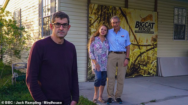 Big Cat Rescue founder Carole Baskin, 59, from Texas, pictured with husband Howard, says she was 'really surprised' Joe received 'only 22 years' in prison for animal abuse and plotting to have her killed. Also pictured: Louis Theroux, who interviews the couple in his new documentary Louis Theroux: Shooting Joe Exotic, on BBC Two tonight