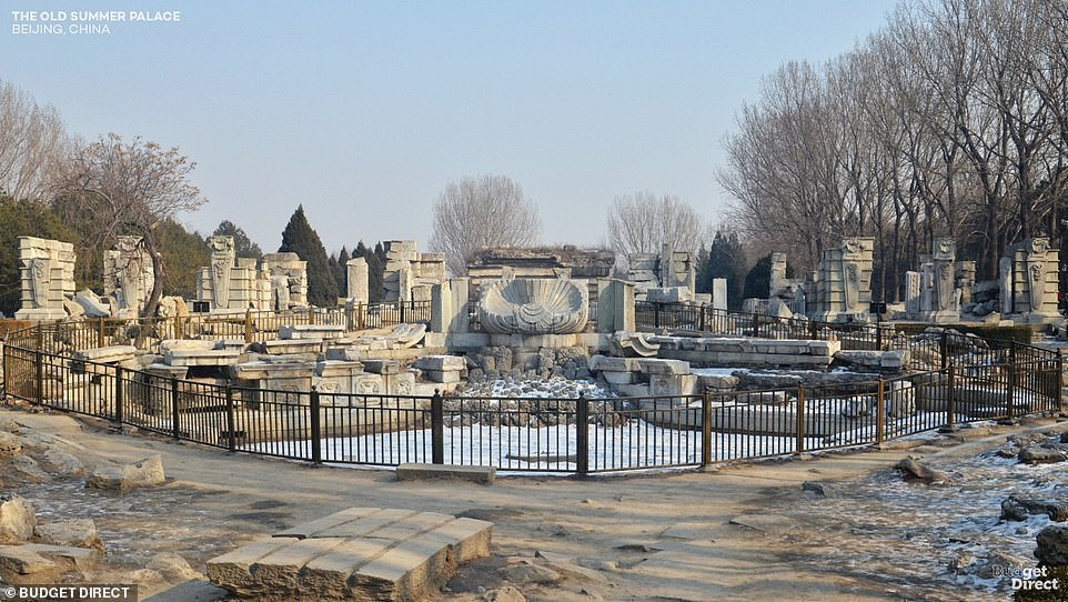 All that remains of Beijing's Old Summer Palace, which was a 3.5-square-kilometre- (1.3 sq mile) complex of palaces, lakes, gardens, towers and sculptures