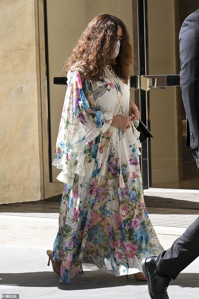 Out and about:She's just started work on the House Of Gucci film. And Salma Hayek made the most of her morning off from filming as she soaked up the sights of Rome on Friday