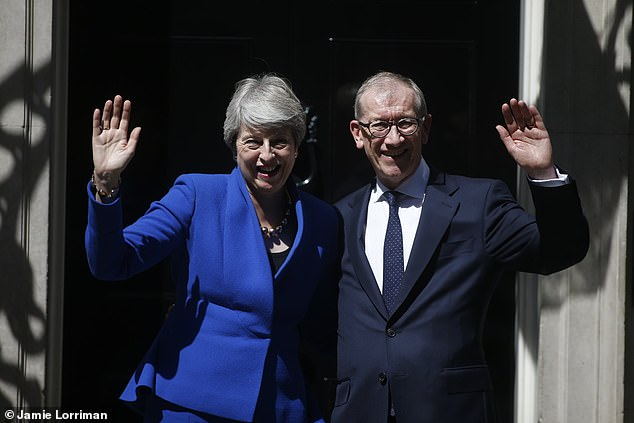 Davis said he hoped that his resignation would force out Theresa May (pictured leaving Downing Street with husband Philip in 2019) and replace her with a Brexiteer leader
