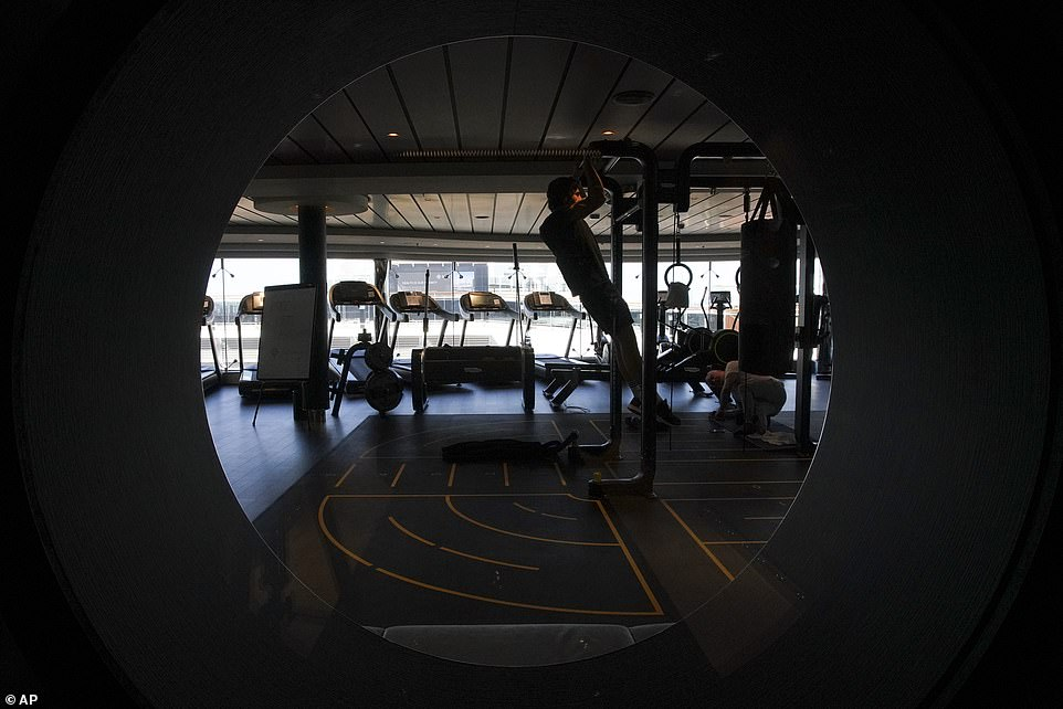 The gym onboard the Grandiosa is open for use, despite most other across the continent remaining closed because of the COVID-19 pandemic