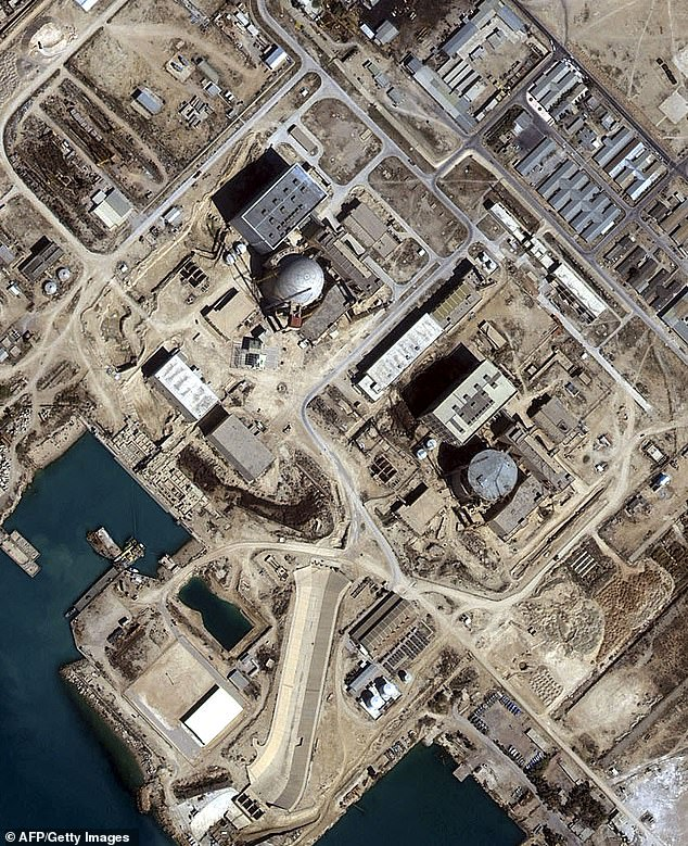 This handout satellite image shows the Bushehr Reactor, Iran collected by Space Imaging's IKONOS satellite 0n 01 March, 2001