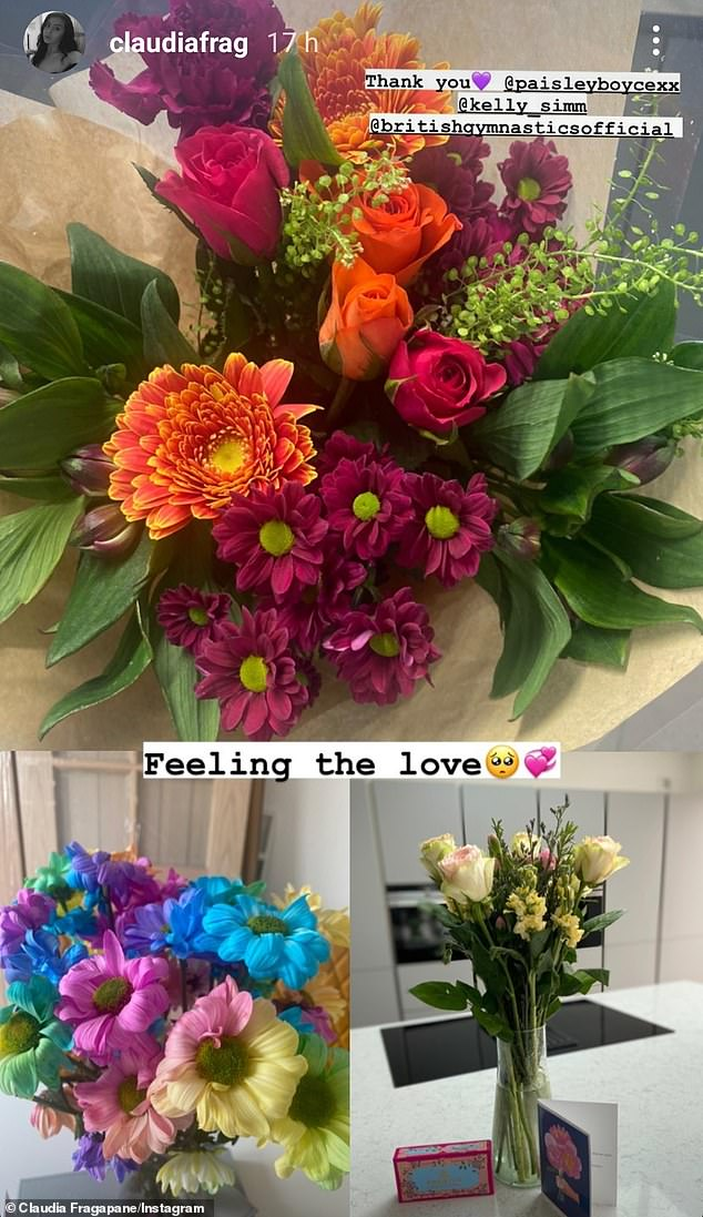 Sweet: She also shared snapshots of all the bouquets she has received as she recovers at home