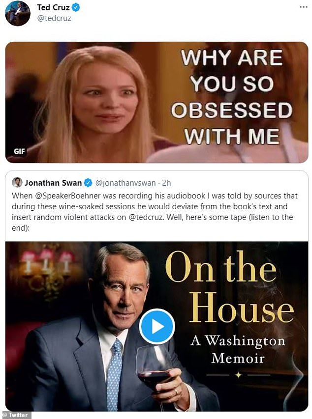 Ted Cruz responded Friday to an audio clip of John Boehner telling him to f*** himself with a 'Mean Girls' gif
