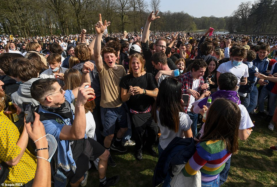 Belgium has reported over 882,000 confirmed coronavirus cases and more than 23,000 virus-related deaths. Pictured: The party moments before the police arrived