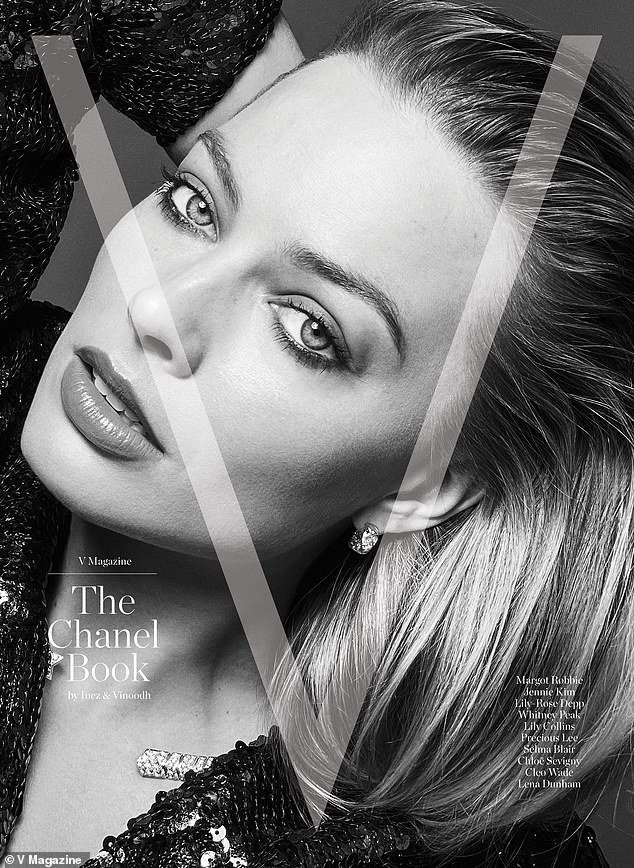 Strike a pose: Margot Robbie, 30, and Lily-Rose Depp, 21, looked equally as sultry while posing for dueling covers of V Magazine's Chanel Book