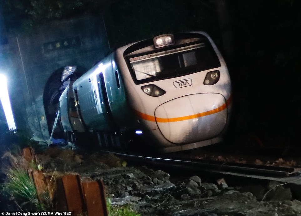 The Wreckage at the scene where a train carrying 490 passengers has been derailed in a tunnel