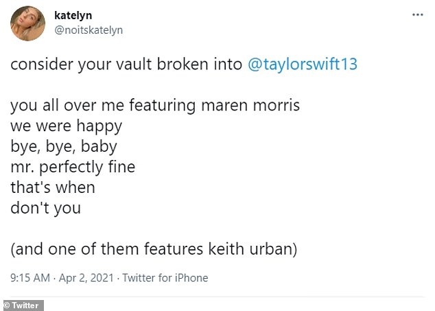 'Consider your vault broken,' one internet sleuth, named Katelyn, cheekily replied to the Exile singer's tweet, alongside her best guesses for the never-been-heard tracks