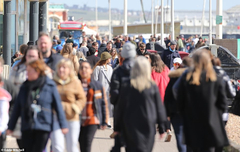 Pictured: People enjoying the sunshine in Brighton and Hove on Good Friday after coronavirus restrictions were relaxed